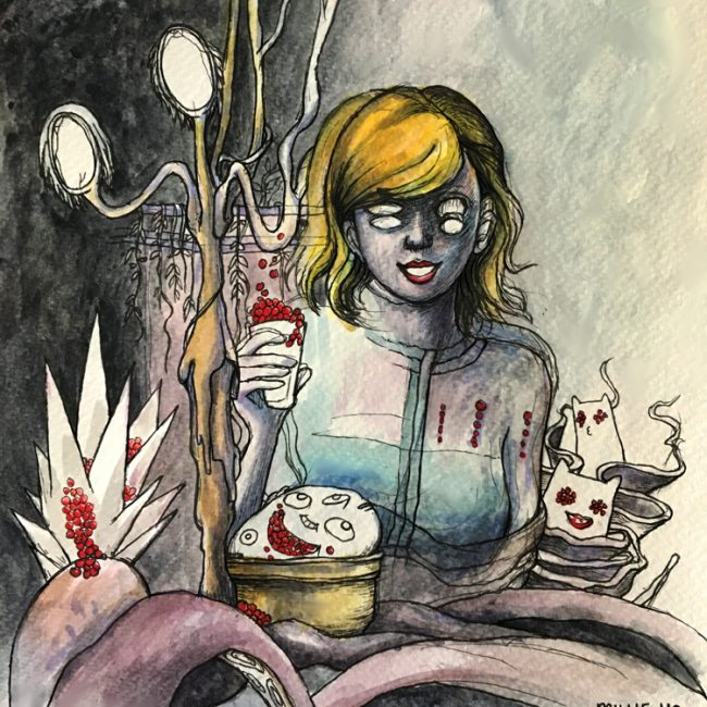 """Cheers to Forever"" by Millie Ho, a Creepify Me horror illustration of Taylor Swift. Watercolours on paper."