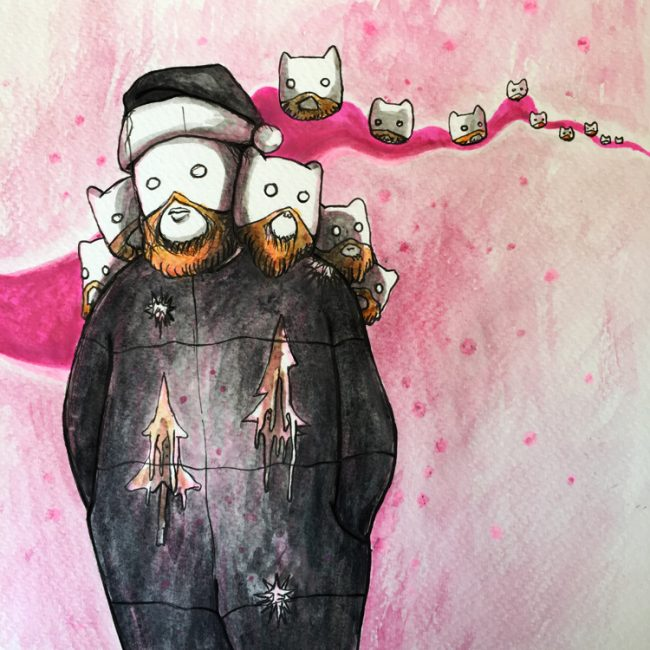 """I'm Dreaming of a Dangerous Christmas"", a Creepify Me surreal horror illustration by Millie Ho, watercolours on paper"