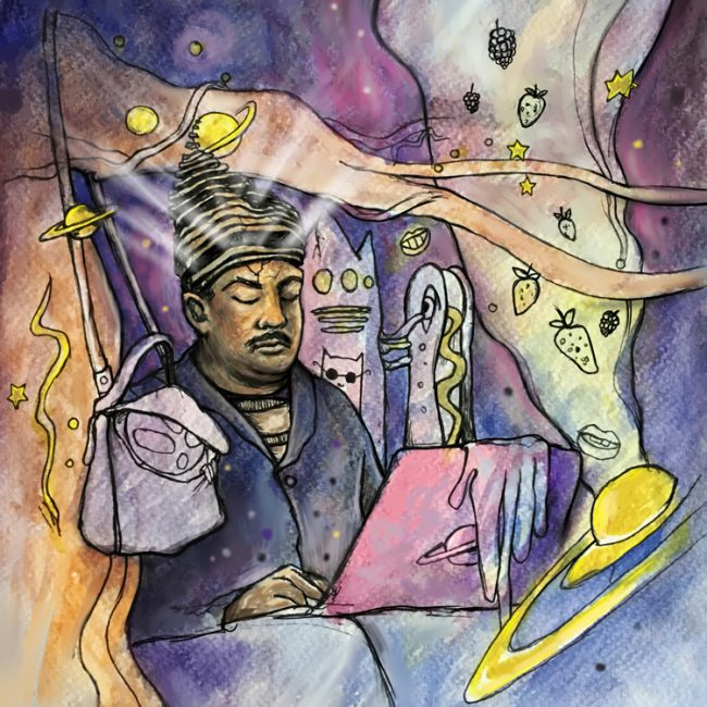 """Man Channeling the Cosmos in the Subway, Approach With Caution"", a Creepify Me illustration of Neil deGrasse Tyson by Millie Ho"