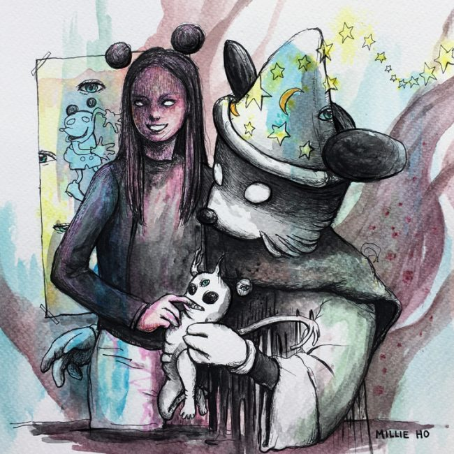 """Disney"" by Millie Ho, a Creepify Me horror illustration of Mickey Mouse. Watercolours on paper."